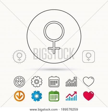 Female icon. Women sex sign. Calendar, Graph chart and Cogwheel signs. Download and Heart love linear web icons. Vector