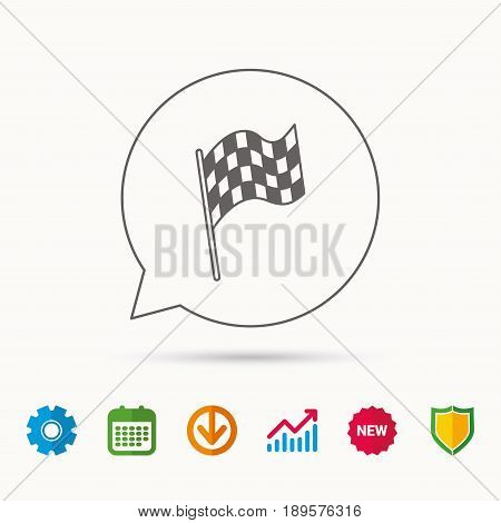 Finish flag icon. Start race sign. Calendar, Graph chart and Cogwheel signs. Download and Shield web icons. Vector