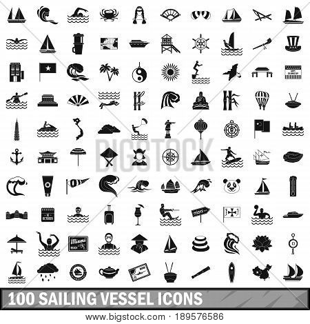 100 sailing vessel icons set in simple style for any design vector illustration