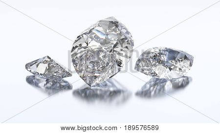 3D illustration three marquise diamond stone on a white blue background