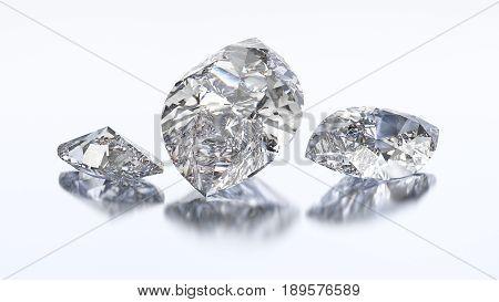 3D illustration three marquise diamond stone on a white blue background