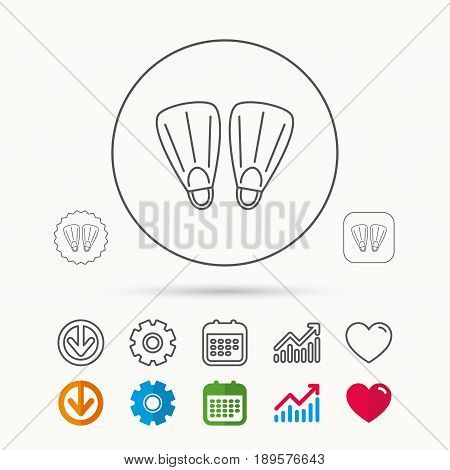 Swimming flippers icon. Diving sign symbol. Calendar, Graph chart and Cogwheel signs. Download and Heart love linear web icons. Vector
