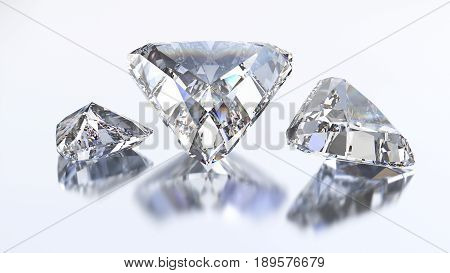 3D illustration three trillion straight diamond stone on a white blue background