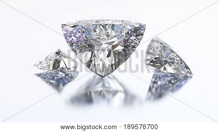 3D illustration three trillion curved diamond stone on a white blue background