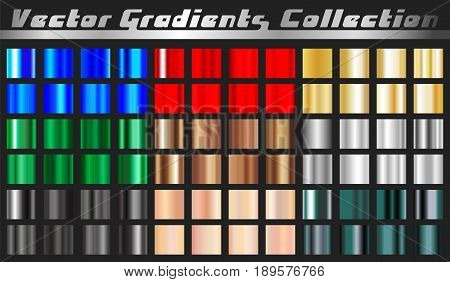 Gradient square set. Collection metallic gold rose silver green bronze black red blue and various chrome gradients background texture. Vector illustration.