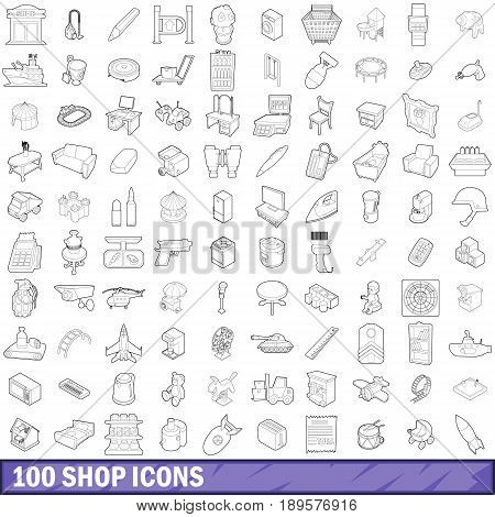 100 shop icons set in outline style for any design vector illustration