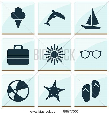 Season Icons Set. Collection Of Baggage, Sunny, Sea Star And Other Elements. Also Includes Symbols Such As Sunny, Suitcase, Sorbet.