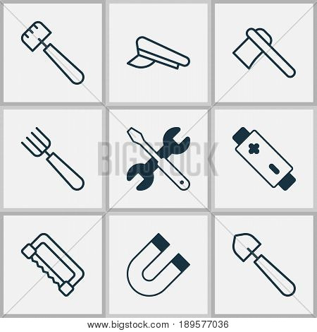 Apparatus Icons Set. Collection Of Carpentry, Cop Cap, Screwdriver With Wrench And Other Elements. Also Includes Symbols Such As Battery, Axe, Spatula.