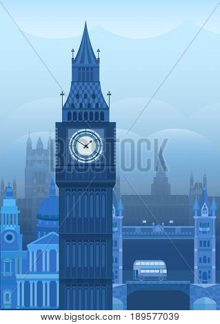 Vector illustration of London. Postcard London. Sights of Britain. Poster with of the English landmark Big Ben. Background for invitation, card, banner, cover, postcard, flyer.