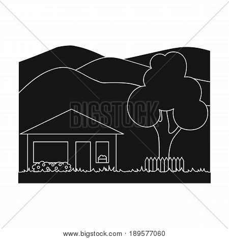 Vacation home.Realtor single icon in black style vector symbol stock illustration .