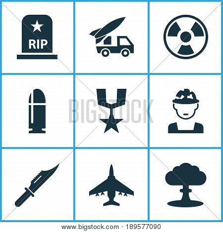 Warfare Icons Set. Collection Of Atom, Dangerous, Order And Other Elements. Also Includes Symbols Such As Medal, Explosion, Grave.