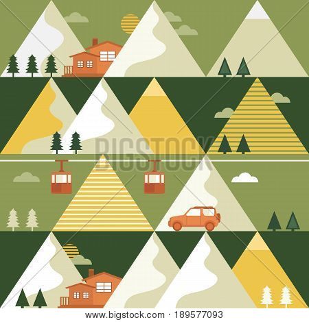 Mountains in summer vector seamless pattern with funicular railway, trees, car and house. Design concept of vacation in the mountains. Template for background, banner, card, invitation, packaging.