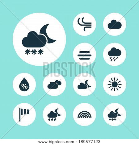 Weather Icons Set. Collection Of Sun, Haze, Nightly And Other Elements. Also Includes Symbols Such As Vane, Moisture, Breeze.