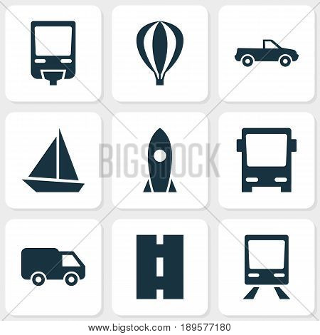Shipment Icons Set. Collection Of Cabriolet, Railway, Truck And Other Elements. Also Includes Symbols Such As Pickup, Sail, Truck.