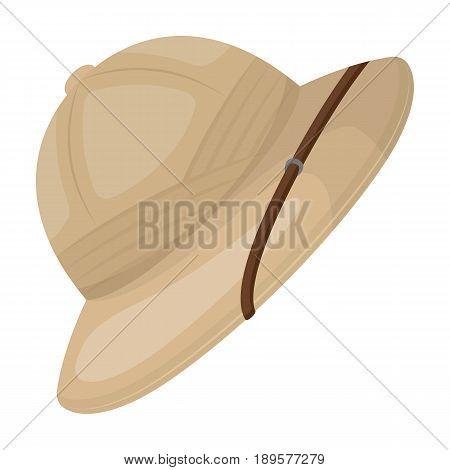 Cork hat from the sun.African safari single icon in cartoon style vector symbol stock illustration .