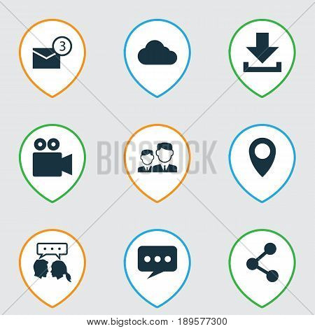 Social Icons Set. Collection Of Camcorder, Message, Partnership And Other Elements. Also Includes Symbols Such As Location, Publish, Arrow.