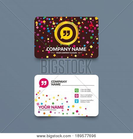 Business card template with confetti pieces. Quote sign icon. Quotation mark in speech bubble symbol. Double quotes. Phone, web and location icons. Visiting card  Vector