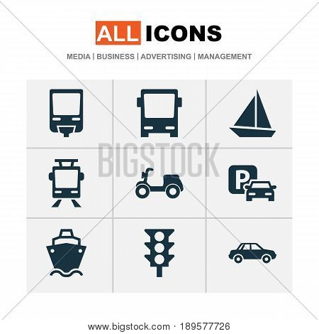 Shipment Icons Set. Collection Of Automobile, Streetcar, Tanker And Other Elements. Also Includes Symbols Such As Scooter, Streetcar, Train.