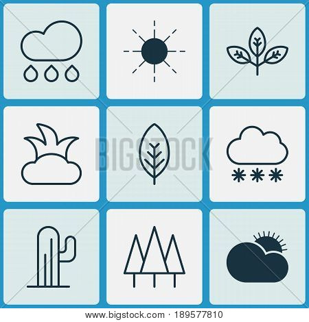 Harmony Icons Set. Collection Of Bush, Rain, Sunny Weather And Other Elements. Also Includes Symbols Such As Snowflake, Bush, Forest.