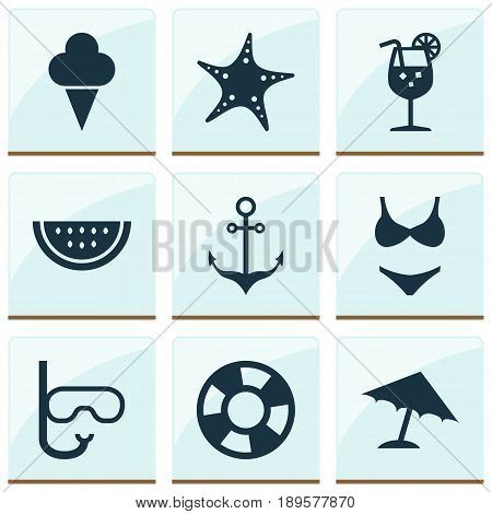Icons Set. Collection Of Armature, Bikini, Vitamin And Other Elements. Also Includes Symbols Such As Sweets, Vitamin, Boat.