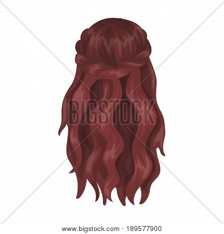 Dark, loose hair behind.Back hairstyle single icon in cartoon style vector symbol stock illustration .