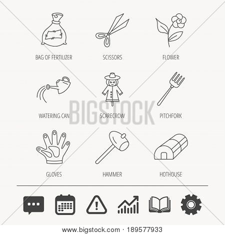 Hammer, hothouse and watering can icons. Bag of fertilizer, scissors and flower linear signs. Hammer, scarecrow and pitchfork flat line icons. Education book, Graph chart and Chat signs. Vector