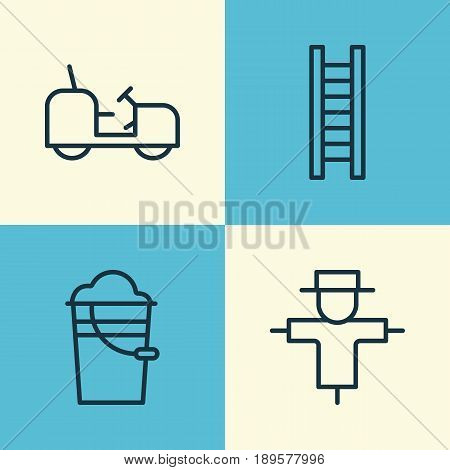 Farm Icons Set. Collection Of Stairway, Bugbear, Bucket And Other Elements. Also Includes Symbols Such As Tractor, Stairway, Pail.