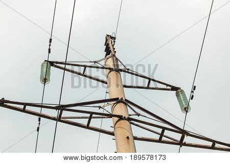 Support Of High-voltage Power Lines Against The Sky.