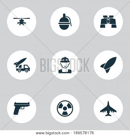 Warfare Icons Set. Collection Of Bombshell, Chopper, Glass And Other Elements. Also Includes Symbols Such As Soldier, Danger, Fire.