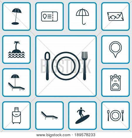 Travel Icons Set. Collection Of Trip Access, Eating, Coast Parasol And Other Elements. Also Includes Symbols Such As Point, Gingham, Sea.