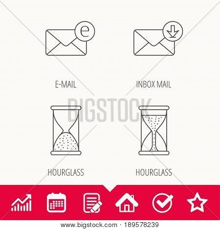 Hourglass, inbox mail and e-mail icons. Hourglass linear sign. Edit document, Calendar and Graph chart signs. Star, Check and House web icons. Vector