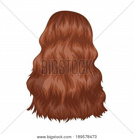 Red long back.Back hairstyle single icon in cartoon style vector symbol stock illustration .