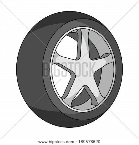 Wheel with a tire cover for the car.Car single icon in cartoon style vector symbol stock illustration .
