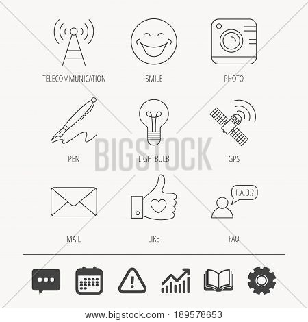 Mail, photo camera and lightbulb icons. Pen, GPS and telecommunication linear signs. FAQ, like and smile icons. Education book, Graph chart and Chat signs. Attention, Calendar and Cogwheel web icons