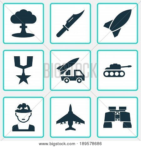 Army Icons Set. Collection Of Aircraft, Glass, Order And Other Elements. Also Includes Symbols Such As Mechanism, Fighter, Nuclear.