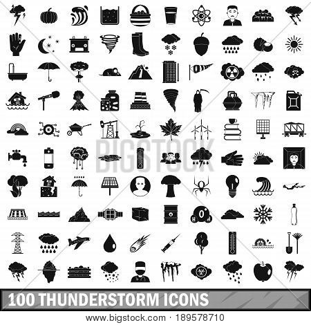 100 thunderstorm icons set in simple style for any design vector illustration