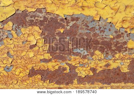 surface of rusty iron with remnants of old paint, chipped paint, grunge metal, texture background