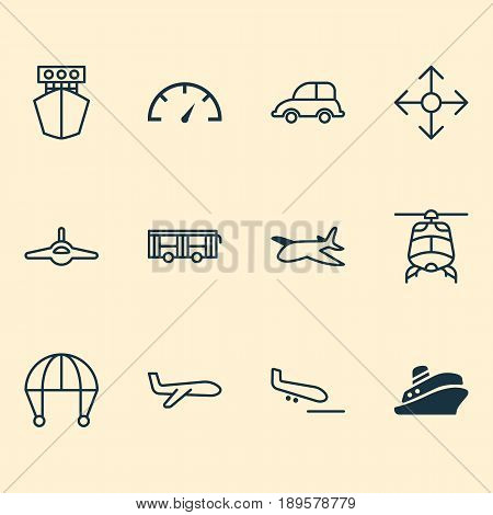 Transportation Icons Set. Collection Of Ship, Plane, Plane Arrival And Other Elements. Also Includes Symbols Such As Plane, Aviation, Aircraft.