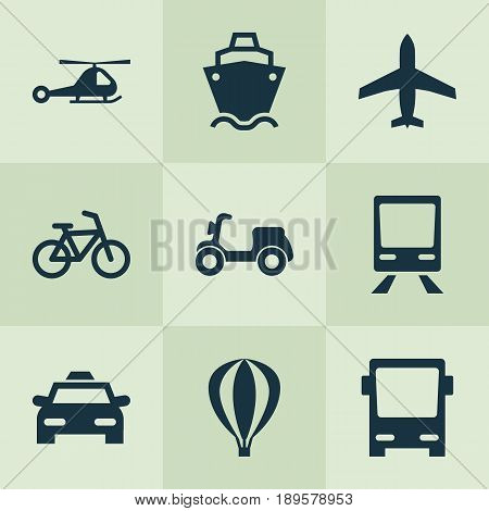 Transportation Icons Set. Collection Of Chopper, Omnibus, Tanker And Other Elements. Also Includes Symbols Such As Omnibus, Airship, Helicopter.