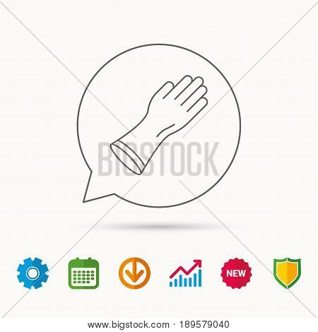 Rubber gloves icon. Latex hand protection sign. Housework cleaning equipment symbol. Calendar, Graph chart and Cogwheel signs. Download and Shield web icons. Vector