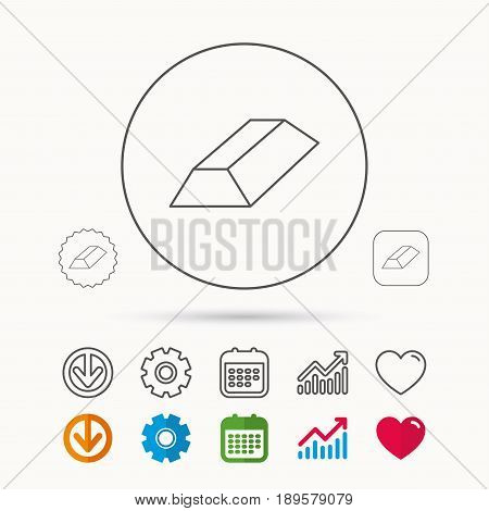 Gold bar icon. Banking treasure sign. Calendar, Graph chart and Cogwheel signs. Download and Heart love linear web icons. Vector