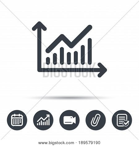 Graph icon. Business analytics chart symbol. Calendar, chart and checklist signs. Video camera and attach clip web icons. Vector