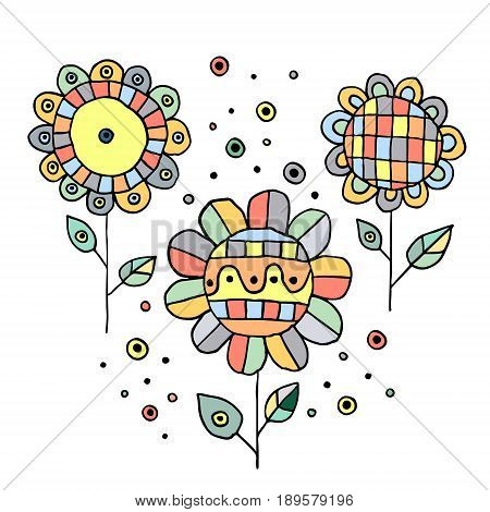 Set Of Vector Hand Drawn Childish Flowers Cute Childlike Doodle, Sketch, Cartoon Style. Line Drawing