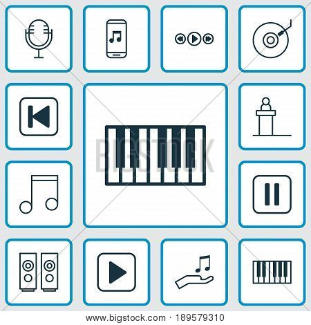 Audio Icons Set. Collection Of Rostrum, Sound Box, Audio Mobile And Other Elements. Also Includes Symbols Such As Tribune, Music, Play.