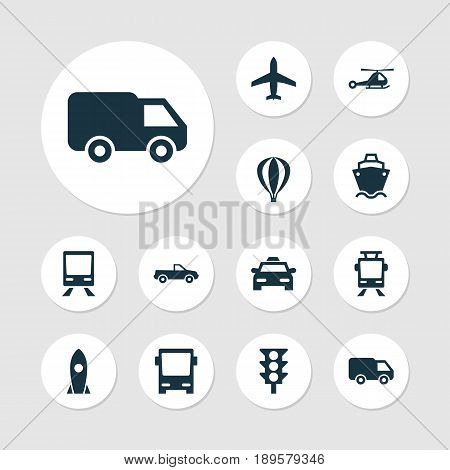 Shipment Icons Set. Collection Of Spaceship, Cab, Stoplight And Other Elements. Also Includes Symbols Such As Cabriolet, Balloon, Wagon.