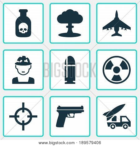 Warfare Icons Set. Collection Of Aircraft, Ordnance, Danger And Other Elements. Also Includes Symbols Such As Rockets, Oficer, Artillery.