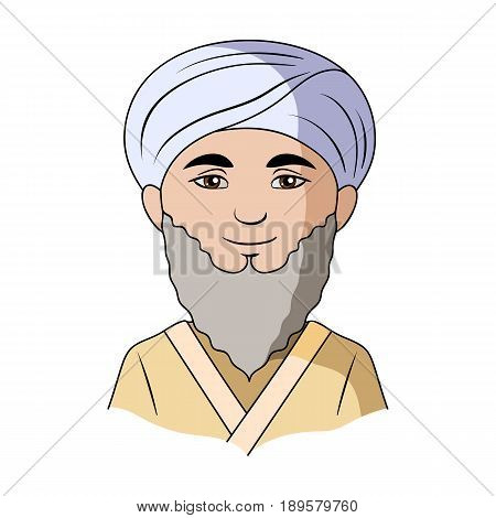 Man from middle Asia.Human race single icon in cartoon style vector symbol stock illustration .