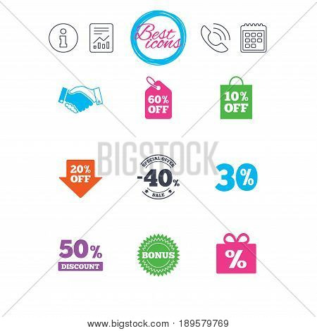 Information, report and calendar signs. Sale discounts icon. Shopping, handshake and bonus signs. 20, 30, 40 and 50 percent off. Special offer symbols. Classic simple flat web icons. Vector