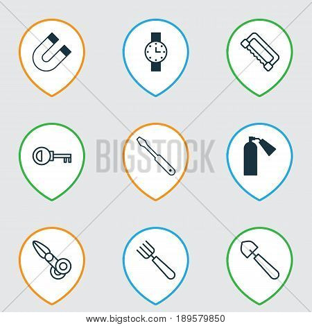 Equipment Icons Set. Collection Of Carpentry, Garden Fork, Firefighter And Other Elements. Also Includes Symbols Such As Cutter, Pitchfork, Clock.