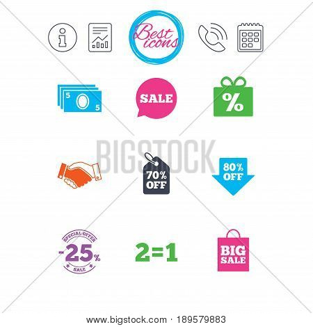 Information, report and calendar signs. Sale discounts icon. Shopping, handshake and cash money signs. 25, 70 and 80 percent off. Special offer symbols. Classic simple flat web icons. Vector